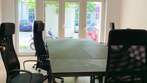 Art Nouveau office with terrace, kitchen, workspaces, meeting room