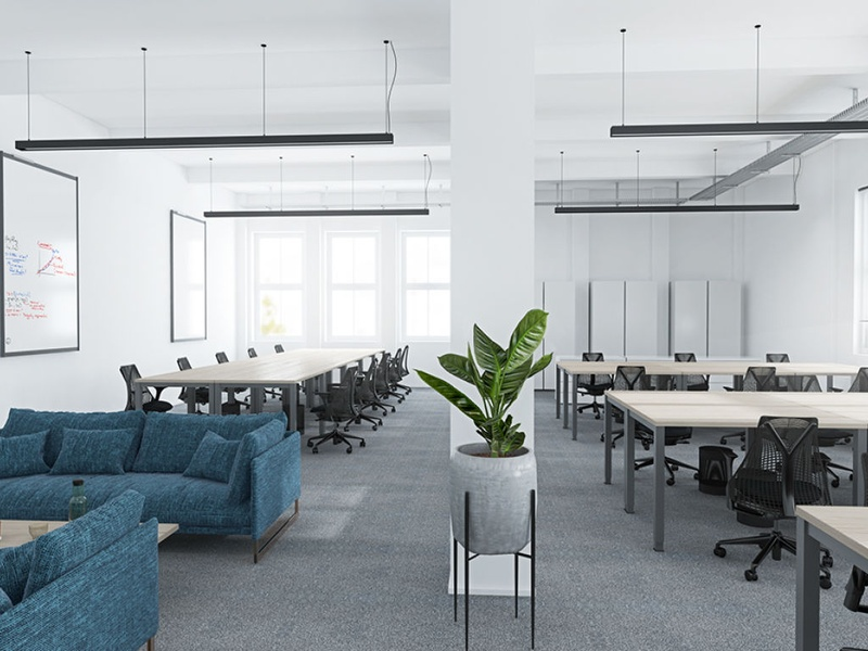 OFFICE: Furnished office spaces including meeting rooms and community areas
