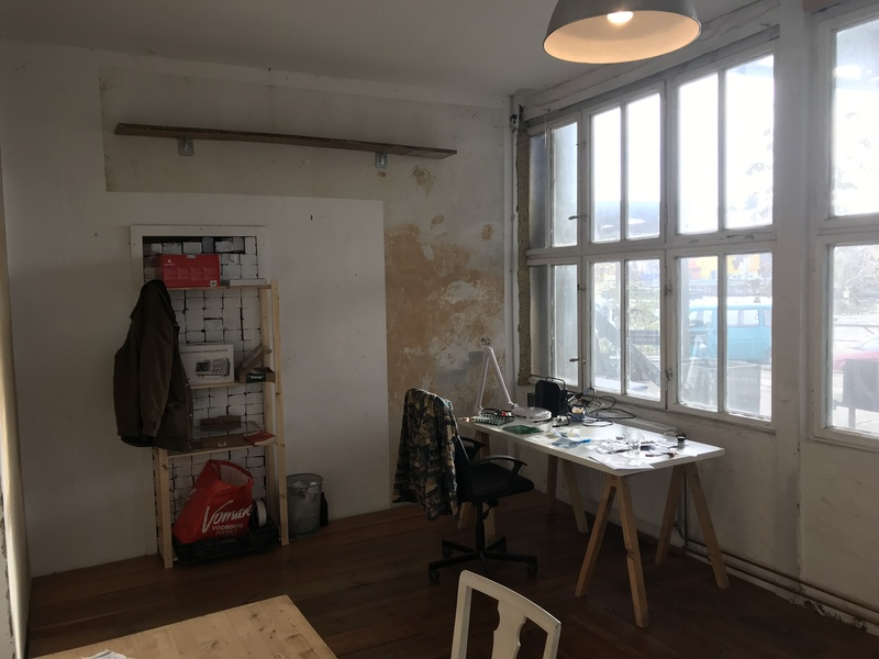 Desk in room with view over the Spree