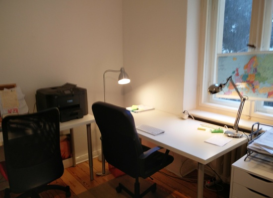 1 desk in a 2 desk office room for rent. Close to Kantstr. Relaxed atmosphere.