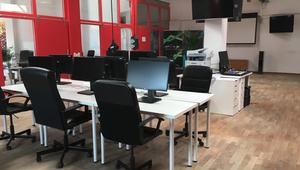 Tech co-working space in a bright and spacious office