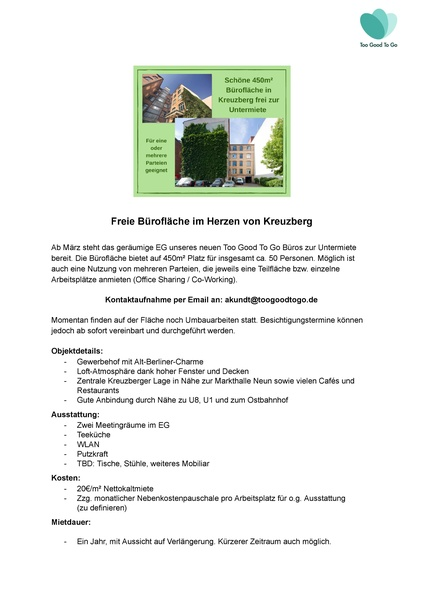 Free office space in the heart of Kreuzberg / one or more tenants possible