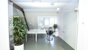 Modern top-floor room in coworking space