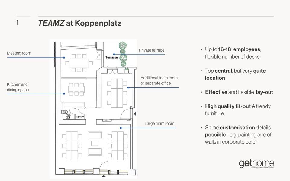 Serviced privates Büro in Berlin Mitte für 12-18 Mitarbeiter mit Terrasse