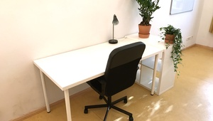 Spacious desk + storage space, shared with only one other person