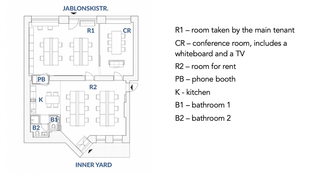 New & modern office in Prenzlauer Berg: one room (12 desks) or separate desks to rent