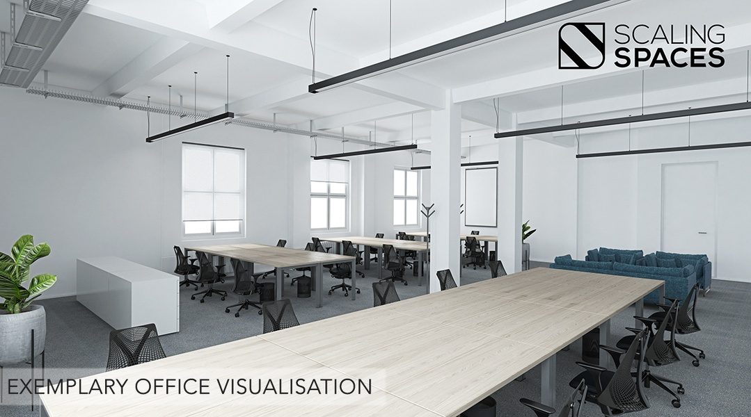 Furnished office spaces including meeting rooms and community areas