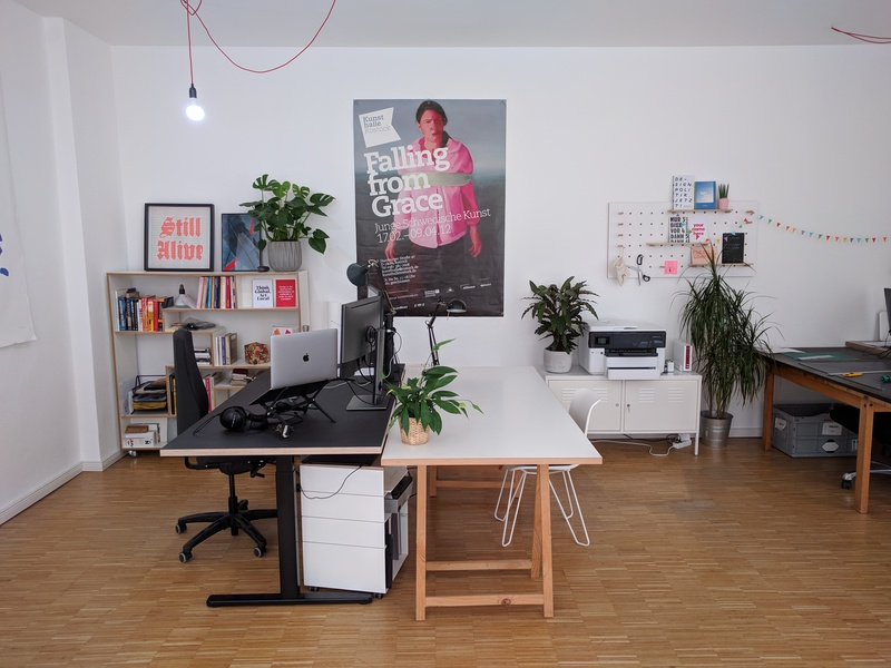 Large desk in a creative studio in Wedding